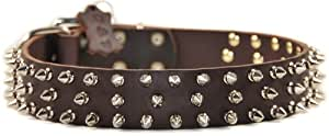 "Dean and Tyler ""TRIPLE THREAT"", Leather Dog Collar with Nickel Plated Spikes - Brown - Size 24-Inch by 1-1/2-Inch - Fits Neck 22-Inch to 26-Inch"