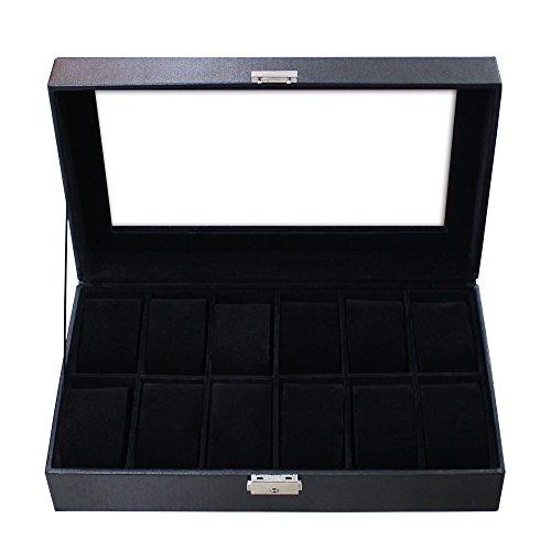 Todeco - Uhrbox, Uhr und Armband Aufbewahrung - Größe: 30 x 20 x 8 cm - Material der Box: PU - Schwarz, 12 Uhren und Display -