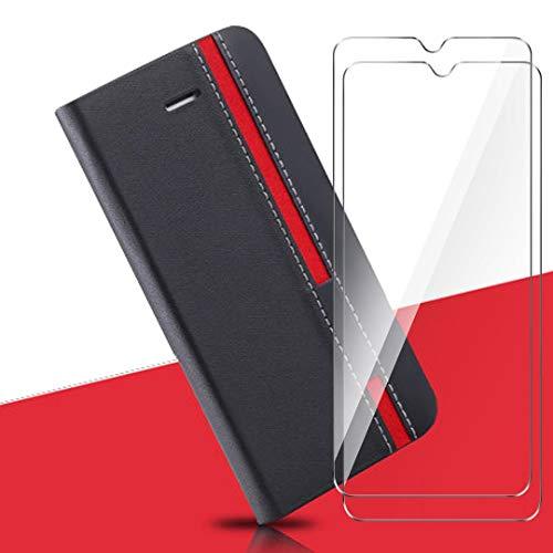 HYMY Custodia per Umidigi S3 PRO + 2 PCS Vetro Temperato Vetro Pellicola Glass - PU + TPU Silicone Protettiva in Pelle PU Bookstyle Flip Case Cover Shell-Black