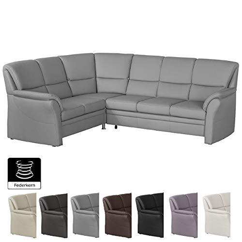 Leder Sitzgarnitur Sofa (Cavadore Ecksofa Klariza mit Ottomane links / Großes L-Form Sofa in Lederoptik und modernem Design / 264 x 102 x 214 / Federkern / Kunstleder hellgrau)