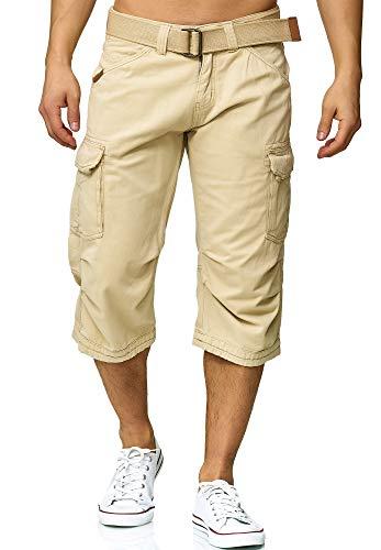 Indicode Herren Nicolas Check 3/4 Karierte Cargo Shorts inkl. Gürtel aus nachhaltiger Baumwolle Fog XL -