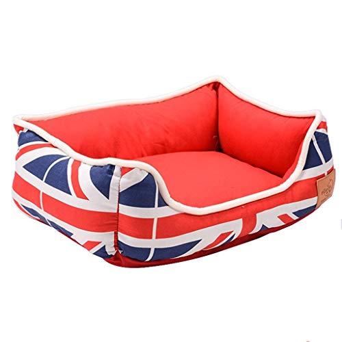 ZXH77f Hundebett mit abnehmbarem, waschbarem Bezug, Kuschel-Haustierbett for kleine, mittelgroße Hunde und Katzen, superweiche und strapazierfähige Haustierausstattung/rot (Size : 38x30x15cm)