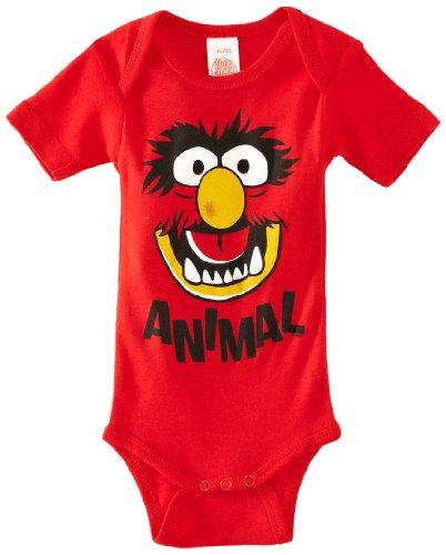 LOGOSHIRT - Das Tier Baby-Body Kurzarm - Muppet Show - Animal - Face Baby Strampler - rot - Lizenziertes Originaldesign, Größe 50/56, 0-2 (Muppets Kostüm Tier)