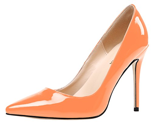 AOOAR Damen High-Heel Glattleder Orange Lackleder Büro Pumps EU 37