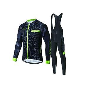 JOGVELO Maillot Ciclismo, Ropa Ciclismo Conjunto Hombre Mangas Largas Jersey + Culotes Ciclismo Reflectante Transpirable, M