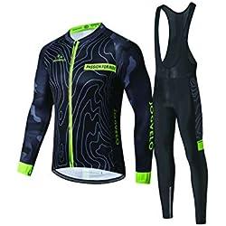 JOGVELO Maillot Ciclismo, Ropa Ciclismo Conjunto Hombre Mangas Largas Jersey + Culotes Ciclismo Reflectante Transpirable, L