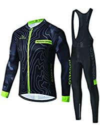 JOGVELO Maillot Ciclismo, Ropa Ciclismo Conjunto Hombre Mangas Largas Jersey + Culotes Ciclismo Reflectante Transpirable