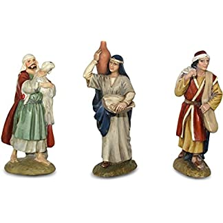 Ferrari & Arrighetti Figuras Belén: juego de 3 pastores de la colección Martino Landi para nacimiento de 9 cm