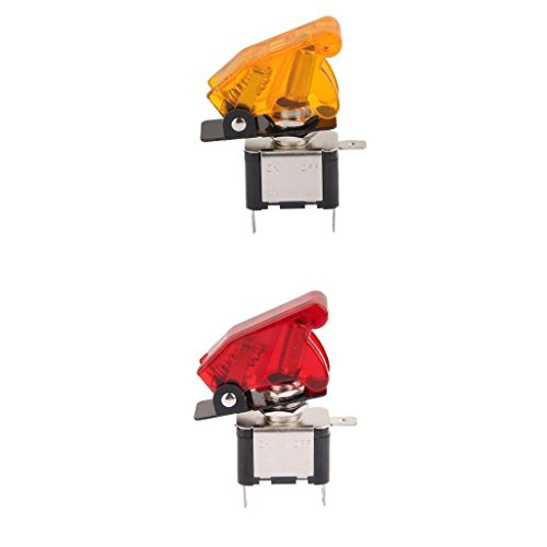 ELECTROPRIME 2 Pieces 12V 20A Car SPST Toggle Rocker Switch Control with Yellow+Red LED