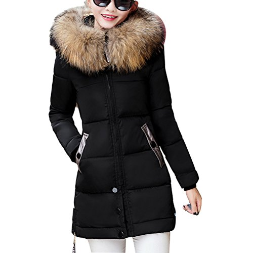 Zhhlinyuan Casual Long Style Down Jacket Thick Slim Coat Cotton Clothing Plus Size Schön for Women (Down Mäntel Womens Plus Size)
