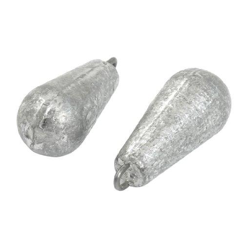 Plomada - SODIAL(R) Disparo de cebo de sedal Plomada de peso plomo en forma d gota de agua 3D 2pzs