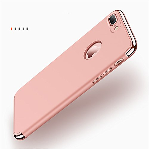 "iPhone 7 Plus Case,Heyqie 3 in 1 Ultra-thin 360 Full Body Anti-Scratch Shockproof Hard PC Non-Slip Skin Smooth Back Cover Case with Electroplate Bumper For Apple iPhone 7 Plus 5.5"" - Black Rose Gold"