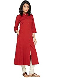 Pistaa Women's Solid Cotton Red Kurta With Plus Size
