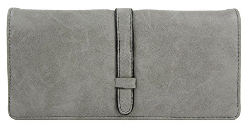 Kukubird Elegante Ecopelle Design Minimalista Con Cinghia Anteriore Dettaglio Ladies Borsa Clutch Wallet Grey
