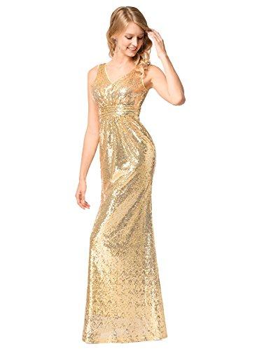 Frauen V-Ausschnitt Warp Kleid Night Out Kleid Partei lange Pailletten Kleid Gold M - 3