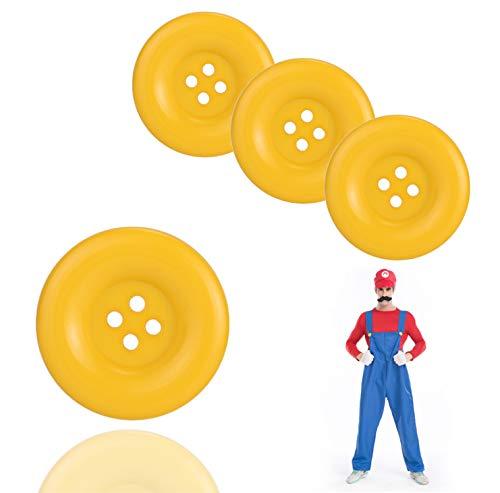 Kart Zubehör Mario Kostüm - TK Gruppe Timo Klingler 4X Super XL groß Knöpfe Knopf Mario Waluigi Mario gelb für Kostüm, Verkleidung, Erwachsene Latzhose Karneval Fasching Damen und Herren