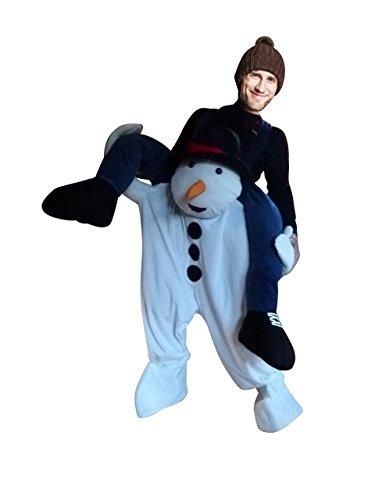 Paar Kostüm Ein - Carry me Schneemann-Kostüm, F113 Gr. M-XL, Schneemann als Huckepack für Männer und Frauen, Paar-Kostüme Gruppen-Kostüme, Fasching Karneval, Faschings-Kostüme, Geburtstags-Geschenk Erwachsene