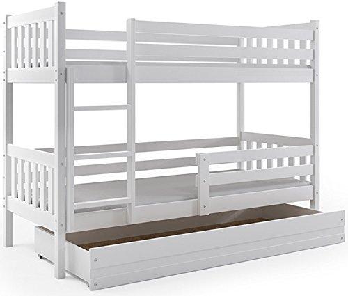 Letto a castello per bambini, carino 190x80, con cassettone e materassi in spugna, cameretta ragazzi (bianco)