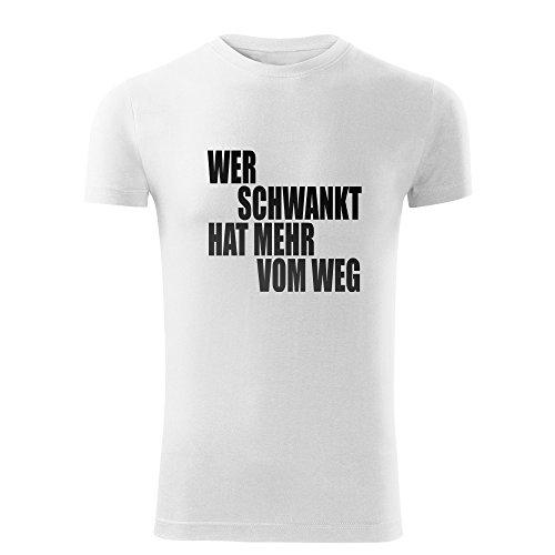 """Herren Party Shirt schwarz & weiß Motiv """"Wer schwankt"""" - T-Shirt Poloshirt mit Motiv - Neu S- XXL Weiß"""