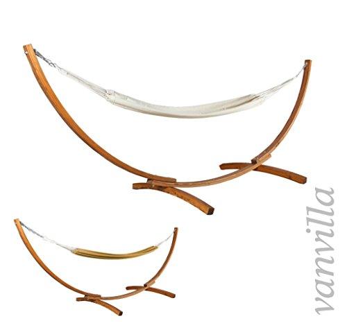 vanvilla Hängematte mit Gestell aus Lärche BAROS 360cm x 120cm, weiße Hängematte, verzinkte Stahlteile, Holz Teakfarben, Hängemattengestell Holz