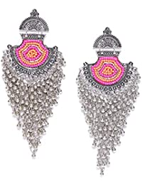 570ef6951c1 TARBIYA KRAFT Oxidised Silver Beaded Royal Drop Earings Luxuria Flawless  Pearl Studded Magnificent Silver Plated Danglers