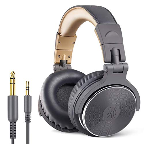 OneOdio DJ Kopfhörer Over Ear mit Kabel Geschlossener Studio Kopfhörer mit Mic, Adapter-Frei Studiokopfhörer mit Share Port Stereo Headphones in Grau für Podcast, Recording, Monitoring