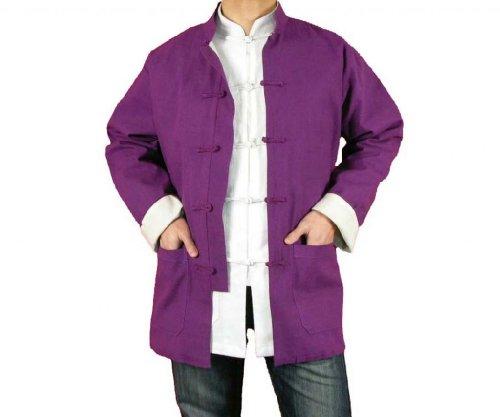 Lin Premium Col Mao Veste Violette Tai Chi Arts Martiaux Blouson Homme Tailleur #106