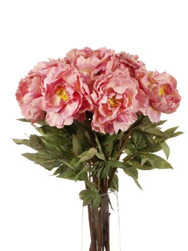 Floral Elegance Closer to Nature Lot de 12 pivoines artificielles à Tige Simple Rose 78 cm