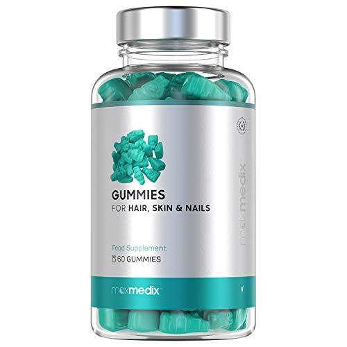 Gummies Integratore Vitaminico con Biotina e Zinco per la salute di Capelli, Pelle e Unghie - Sapore di Mirtillo e Lampone - 60 Gommosi Orsacchiotti