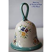 Campanella in Ceramica Linea Fiori Handmade Le Ceramiche del Castello Made in Italy dimensioni 12 x 13,5 centimetri