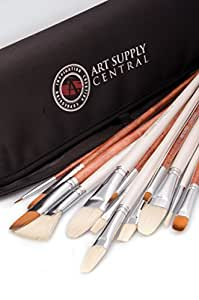 14 Piece Artist Brush Set, HandMade Superior Quality 7 Natural Bristle and 6 Synthetic Brushes, No Shedding, For Oil, Acrylic and Watercolour, 1 Year Guarantee