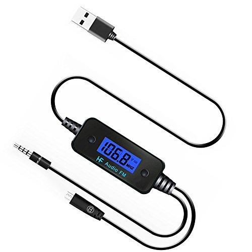 JVR Drahtlos FM Transmitter Radio Auto Bausatz mit 3.5mm Audio-Buchse & Mikro USB Ladeanschluss für MP3 Spieler, iPhone, Samsung Smartphones