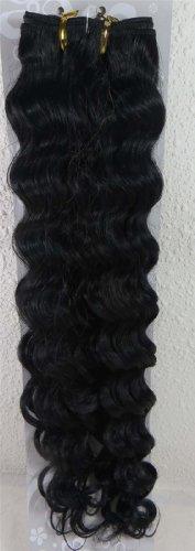 45,7 cm Noir de jais (# 1) trames de cheveux vierges brésiliens Remy ondulés – Tissage 100% Cheveux Humains vierges brut
