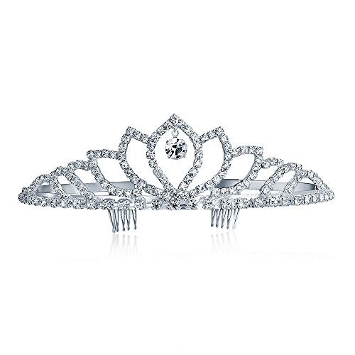 Bling Jewelry Oro bianco placcato goccia di cristallo Crown Tiara nuziale