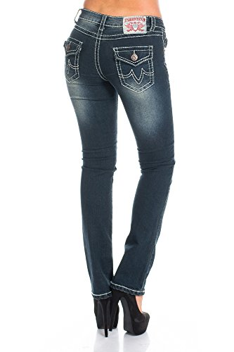 Damen Stretch Jeans Hose Schwarz-Grau Five Pocket Waschungen breite Naht Low Cut Gr. 36-44 Schwarz-Grau