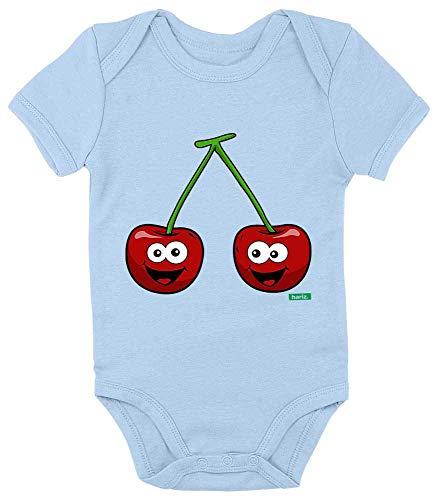 HARIZ Baby Body Kurzarm Kirschen Lachend Früchte Sommer Plus Geschenkkarten Himmel Hell Blau 3-6 Monate -