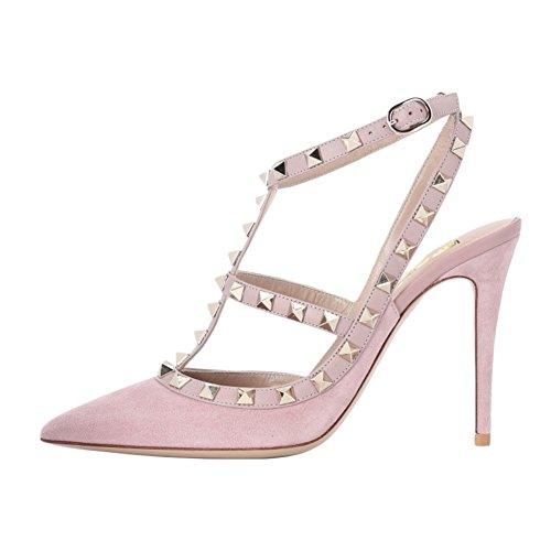 EKS Damen Schwarz High Heels Sandalen Nieten Rivets Kleid-Partei Pumps Suede Pink 44 EU Womens Fashion Slingback Heels