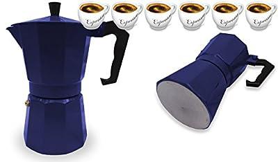 Italian Espresso Stove Top Coffee Maker Pot 6 Cup blue