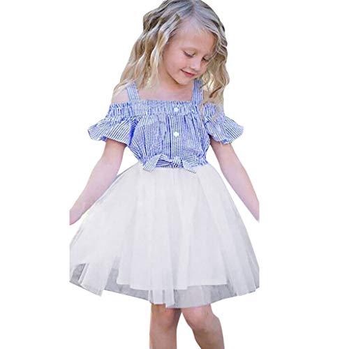 Livoral Mädchen Off-The-Shoulder gestreiften Rock Kleinkind Baby Print Bogen Tüll Prinzessin Kleid(Blau,100)