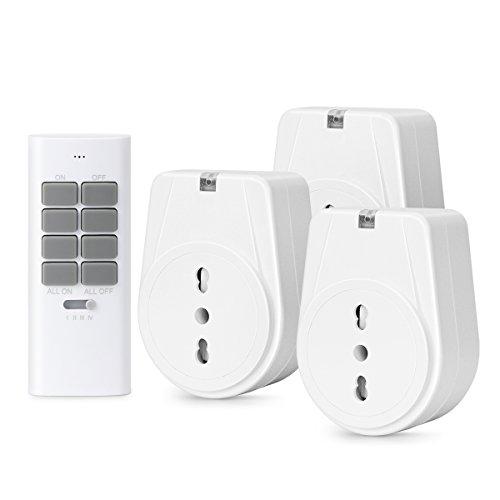 Lunvon Telecomando Wireless Interruttore di Prese Elettriche, per Gestire Tutti gli Elettrodomesiti, fino a 30m/100ft di Raggio Operativo, Bianco (3 Uscite, 1 Telecomando)