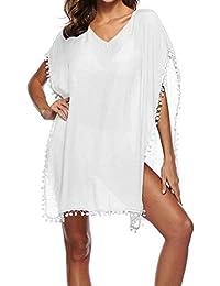Túnica De Playa Mujer Casual Primavera Anchas Abiertas Bikini Cover Up  Elegantes V Cuello Fashion Aireado 16c0df3f5277