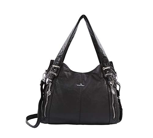 DEERWORD Damen Handtaschen Frauen Schultertaschen Umhängetaschen PU-Leder Bowlingtaschen Schwarz