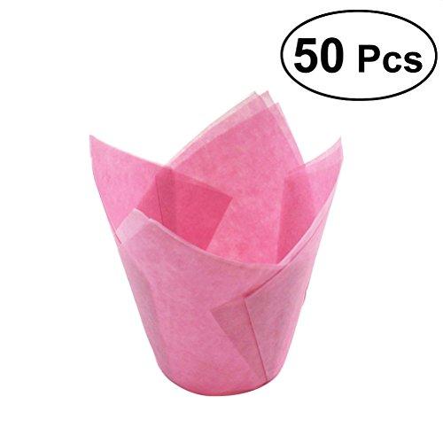 BESTONZON Kuchen Wrapper Cups Cupcake Liner Tulpenform Liner Party Favors Rosa Ostern Muttertag Vatertag 50 Stück