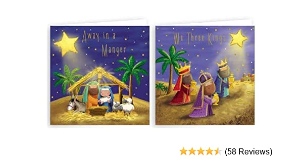 Religious Christmas Cards For Children.Pack Of 20 Mini Square Religious Christmas Cards With Gold Foil Nativity Three Kings 4 X4