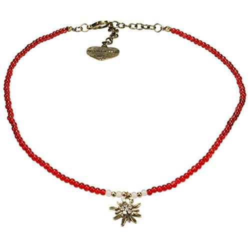 Alpenflüstern Filigran Perlen-Trachtenkette Strass-Edelweiß - Damen-Trachtenschmuck mit antik-gold-farbenem Edelweiss, Dirndlkette rot DHK181