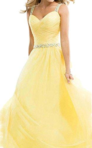 cooshional Damen Cocktailkleid Elegant Ballkleid Partykleid Abendkleid Hochzeit Lang Chiffon Kleid Abendkleid Gelb
