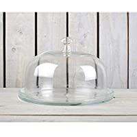 EMH Display Glass Cake Plate with Glass Design Dome Cover/Lid 20 cm