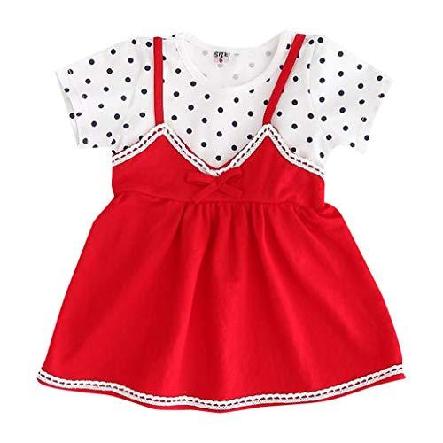 Dresses for Girls Mädchen Kleider Sommer Pwtchenty Sommerkleid Polka Dot Bow Dress Sling Kurzarm Outfits Kleidung - Carters Striped Body