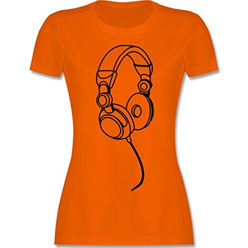 DJ - Discjockey - Kopfhörer - tailliertes Premium T-Shirt mit Rundhalsausschnitt für Damen Orange