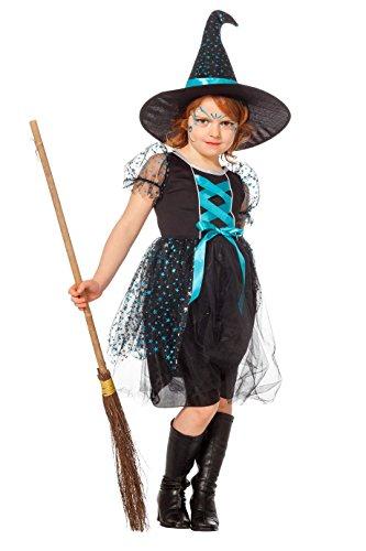 e Kinder mit Hut, Schwarz mit Türkis 152 (Türkis Hexe Kostüme)